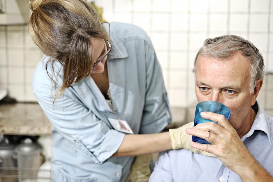 SLP checking throat